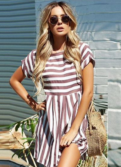Vee Casual Striped Romper