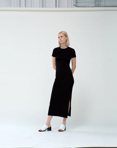 1x1 Ribbed Short Sleeve Maxi Dress