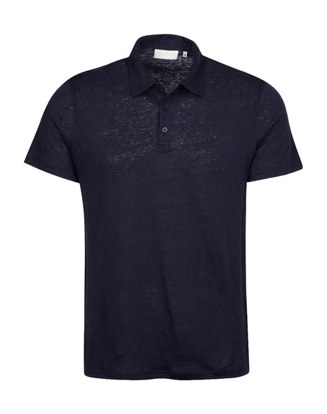 3 Button Linen Polo in Navy