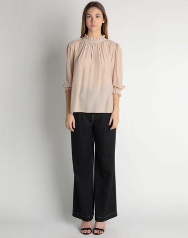 3quarter Sleeve Mock Neck Top