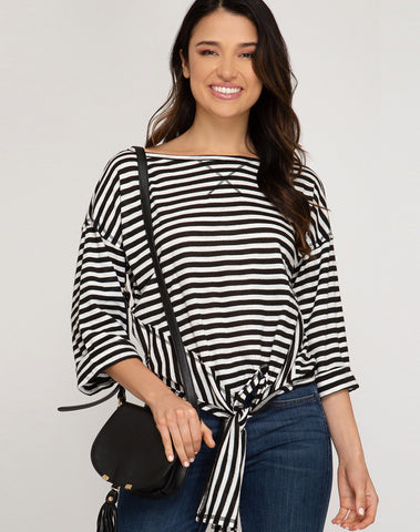 3/4 Folded Sleeve Striped Knit Top