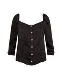 Silky Basics 3/4 Puff Sleeve Button Down Blouse