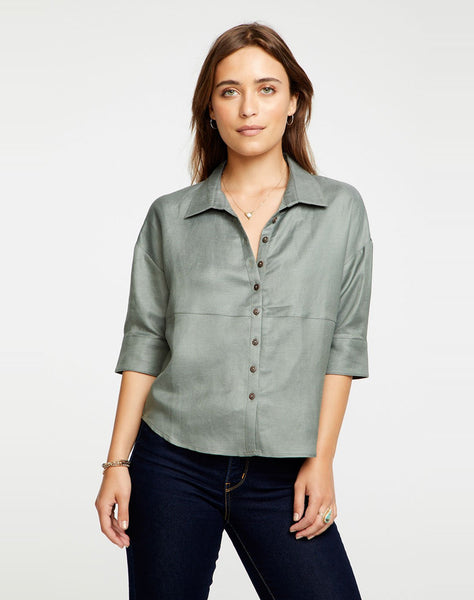 Linen 3/4 Roll Sleeve Seamed Shirttail Drop Shoulder Button