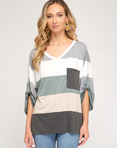 3/4 Roll Up Sleeve Color Blocked Hi Low Top With Pocket