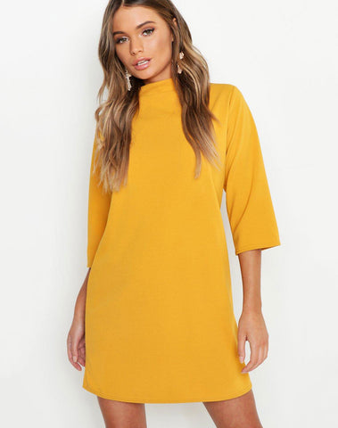 High Neck 3/4 Sleeve Shift Dress