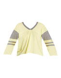Recycled Blocked Jersey 3/4 Sleeve V Neck Hi Lo Football Tee