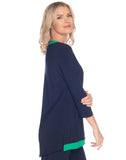 3/4 Sleeve V-Neck With Contrasting Trim - MS1368
