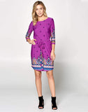 Hot Pink Paisley Print Dress with Tie