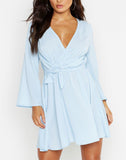 Tie Detail Flared Sleeve Skater Dress