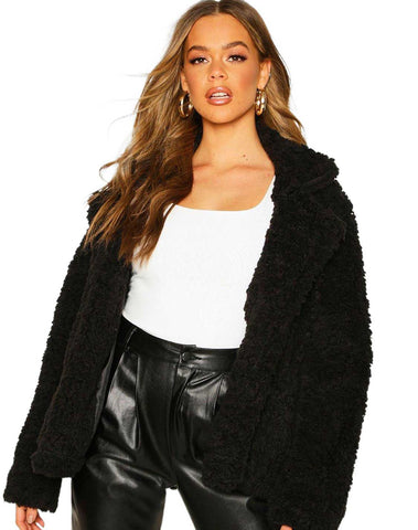 Double Breasted Faux Fur Teddy Coat