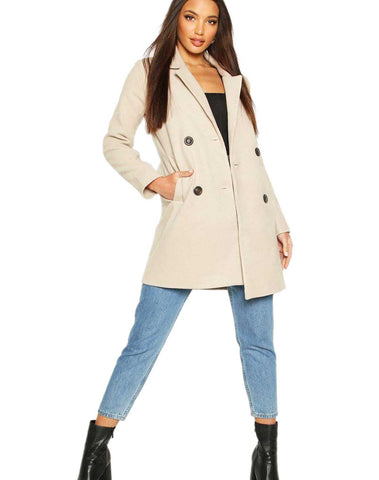 Double Breasted Slim Fit Wool Look Coat