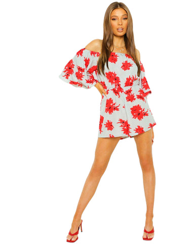 Off The Shoulder Volume Sleeve Floral Print Romper