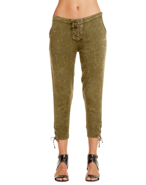 HEIRLOOM WOVENS LACE UP CROPPED PANT