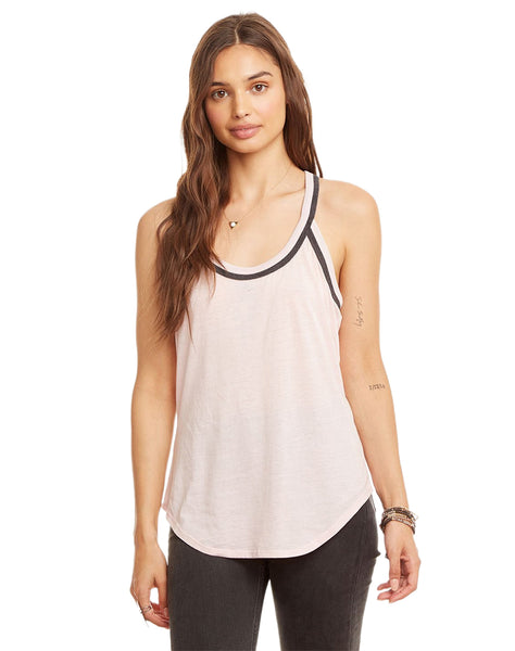 Blocked Jersey T-Back Shirttail Tank