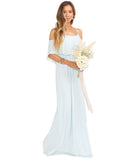 Caitlin Ruffle Maxi Dress ~ Icy Blue Chiffon