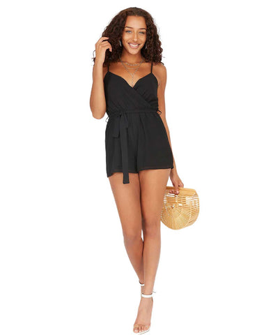Self-Tie Belted Wrap Front Sleeveless Romper