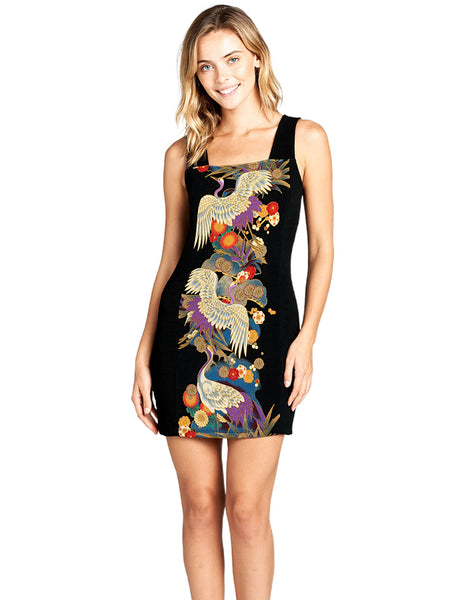 Japanese Print Bodycon Dress