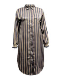 ANNABEL striped shirt dress - Anthracite grey mix
