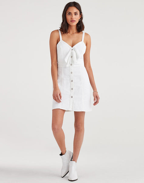 Double Tie Dress in White Runaway