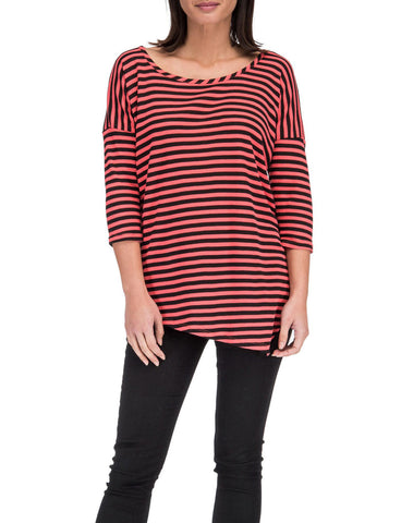 3/4 Sleeve Asymmetrical Strip Tee
