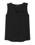 Alison Sleeveless V-neck Pleated Tank