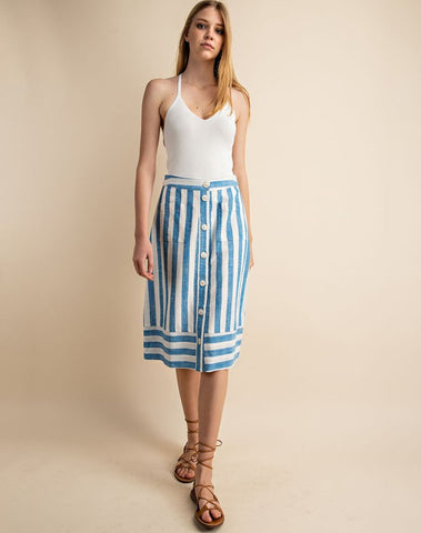 A-line Front Pocket Button Down Skirt