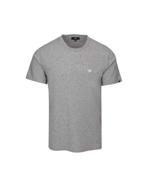 """A"" Emblem Crew Neck Tee in Heather Grey"
