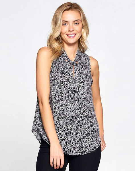 Abstract Print Sleeveless Top With Neck Tie
