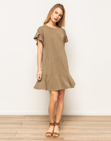 Acid Wash Oversized T-shirt Dress With Ruffle