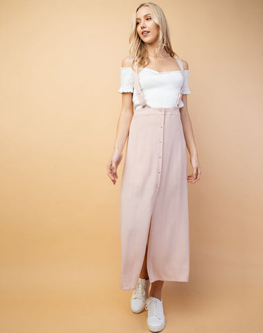 Adjustable Shoulder Button Down Maxi Dress