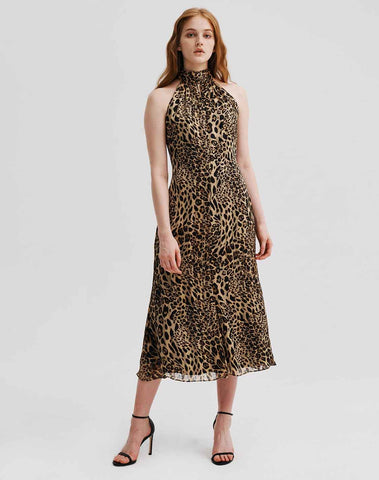 Adrian Metallic Stripe Leopard Burnout Dress