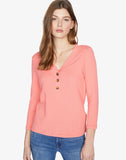 Aiden Button Up Top Winter Coral