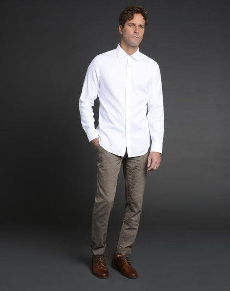 Albiate Luxe Textured Sport Shirt in White