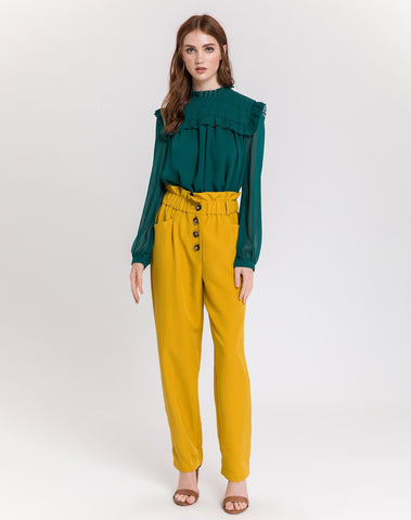 Am-fake Button Down Detail Long Pants