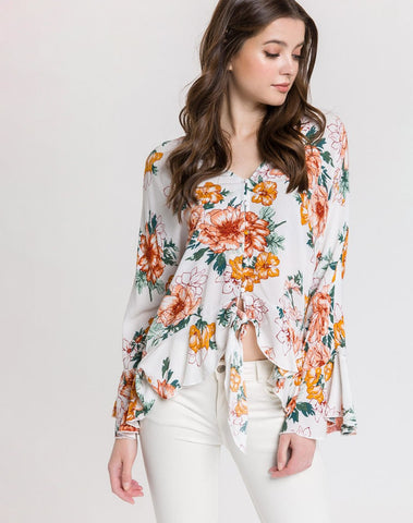 Am-floral Ruffle Top