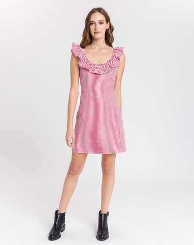 Am-ruffle Trim Mini Dress