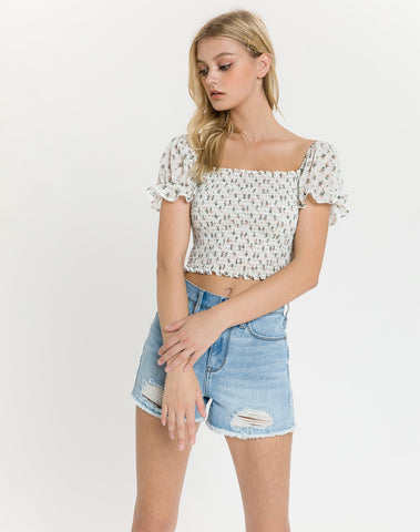 Am-smocked Crop Top