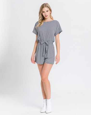 Am-striped Knit Romper