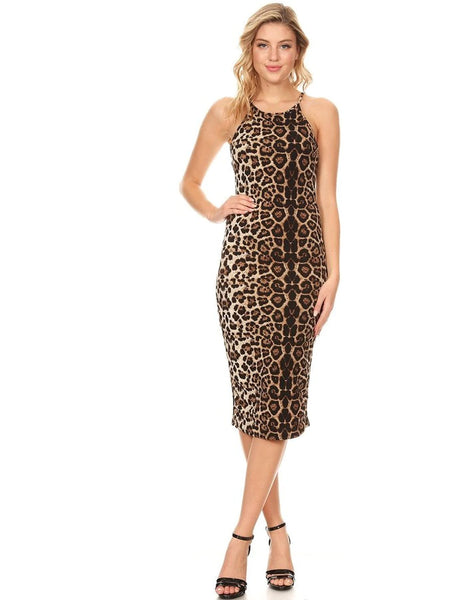 Animal Print Apron Neck Midi Dress