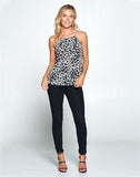 ANIMAL PRINT TANK TOP WITH BACK KEYHOLE