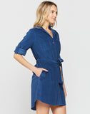 Anita Antique Blue Corduroy Shirt Dress