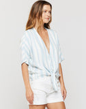 Annabelle Blue Stripe Tie-front Top