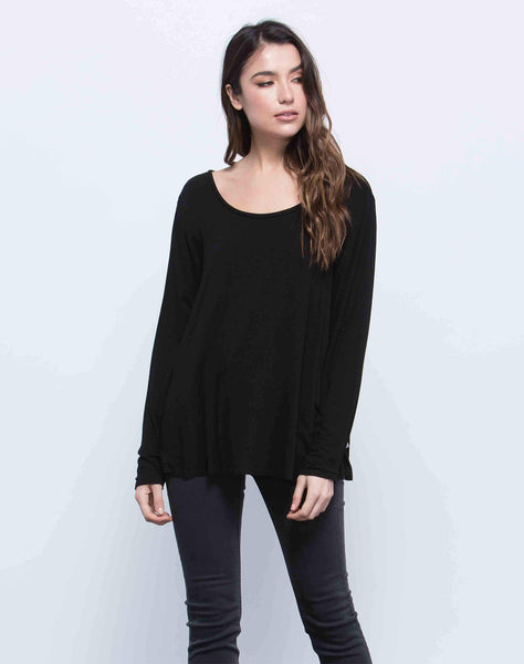 ANNE SCOOP NECK TOP | BLACK