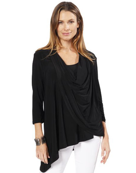 Ms957 - 3/4 Sleeve Cowl Neck Top W/ Asymmetrical Hem