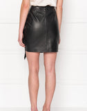 Aulis Black Leather Ruffle Skirt