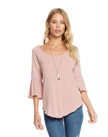 Baby Rib Scoop Neck Peplum Sleeve Shirttail Raglan Tee