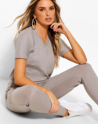 Bandage Boxy V-neck T-shirt & Short Set