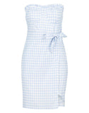 Bandeau Cupped Gingham Mini Dress