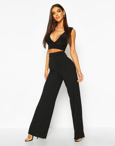 Basic Jumbo Rib High Waist Wide Leg Pants