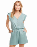 Beachy Linen Flutter Sleeve Button Down Shorts Romper